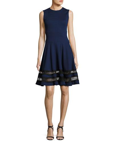 Sleeveless Ponte Lace-Trim Dress, Blue