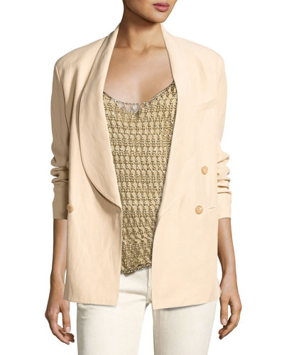 Nelson Shawl-Collar Double-Breasted Jacket, Beige