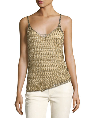 Mesh Scoop-Neck Camisole, Gold