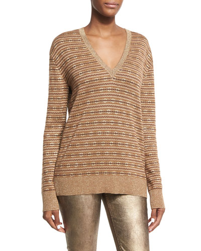 Metallic Deco Knit V-Neck Sweater, Brown