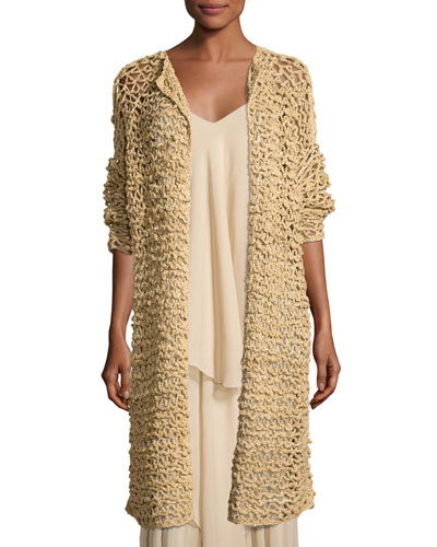 Mesh Long Open Cardigan, Rope