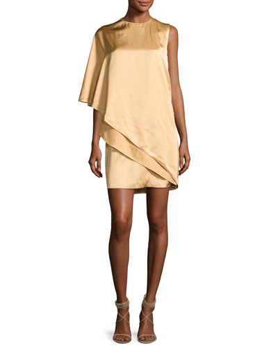 Kayla Draped One-Shoulder Dress, Sand