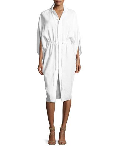Trina Envelope-Sleeve Drawstring Shirtdress