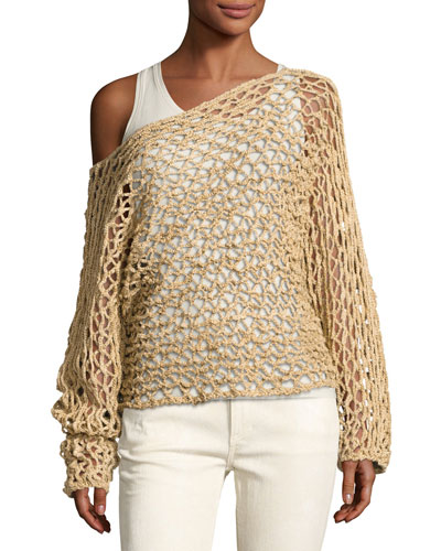 Crochet Oversized Boat-Neck Sweater, Beige