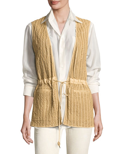 Tracy Woven Leather Drawstring Vest, Tan