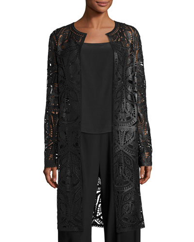 Cora Laser-Cut Leather Coat, Black