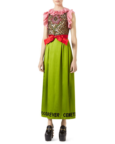 Sleeveless Silk Duchesse Dress with Leopard Jacquard Bodice, Lime