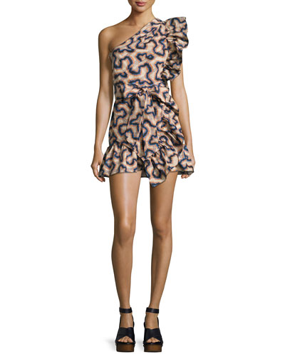 Lavern One-Shoulder Mini Dress, Neutral Pattern