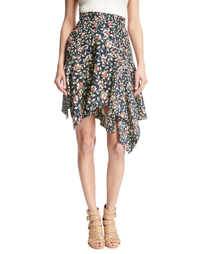 Rachel Asymmetric Silk Skirt, Black