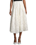 Floral Fil Coupé A-Line Tea-Length Skirt, Ivory