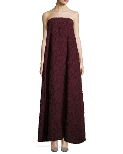 Floral Fil Coupé Strapless Gown, Dark Red