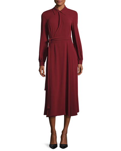 Co Midi dresses LONG-SLEEVE COLLARED MIDI WRAP DRESS, DARK RED