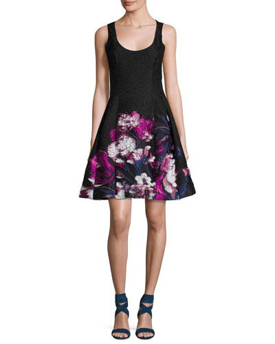 Floral Jacquard Sleeveless Fit & Flare Dress, Black/Pink