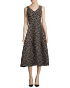 Floral Jacquard Sleeveless A-Line Dress, Black/Gold