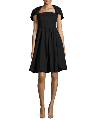 Draped-Shoulder Bubble Dress, Black