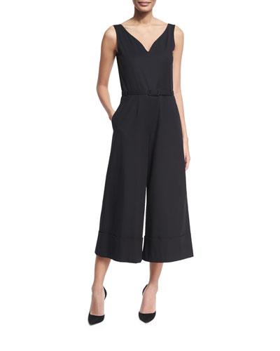 Sleeveless Belted V-Neck Culotte Jumpsuit, Black