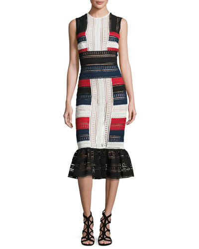 Striped Lace Sleeveless Sheath Dress, Red/Ivory/Navy