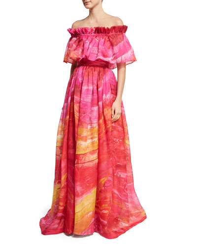 Off-the-Shoulder Brushstroke-Print Silk Gown, Fuchsia/Yellow
