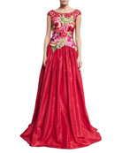 Floral Threadwork Embroidered Gown, Red