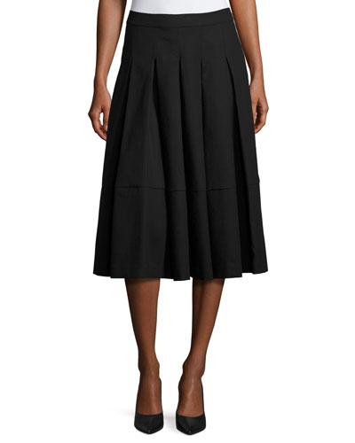 Box-Pleated Midi Skirt, Black