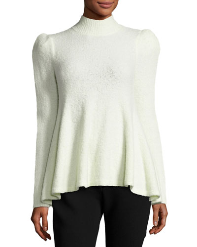 Flounce Sweater with Strong Shoulder, Ivory