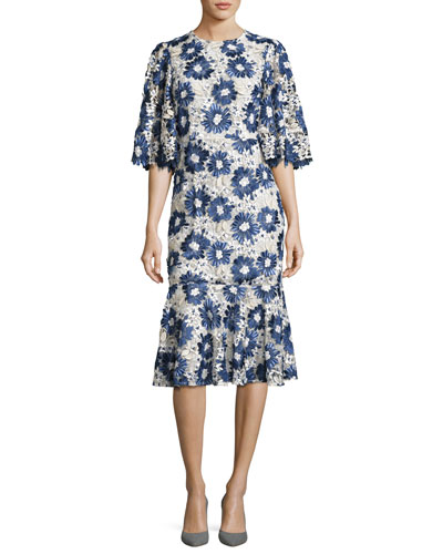 Embroidered Floral Lace Flared-Sleeve Flounce Dress, Blue