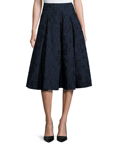Floral Jacquard Box-Pleat Midi Skirt, Navy