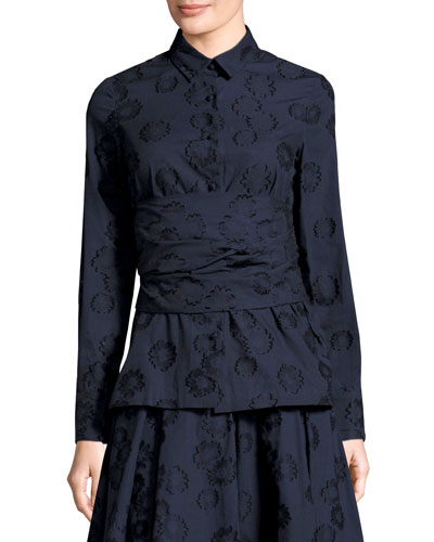 Floral Jacquard Shirt with Self Wrap, Navy