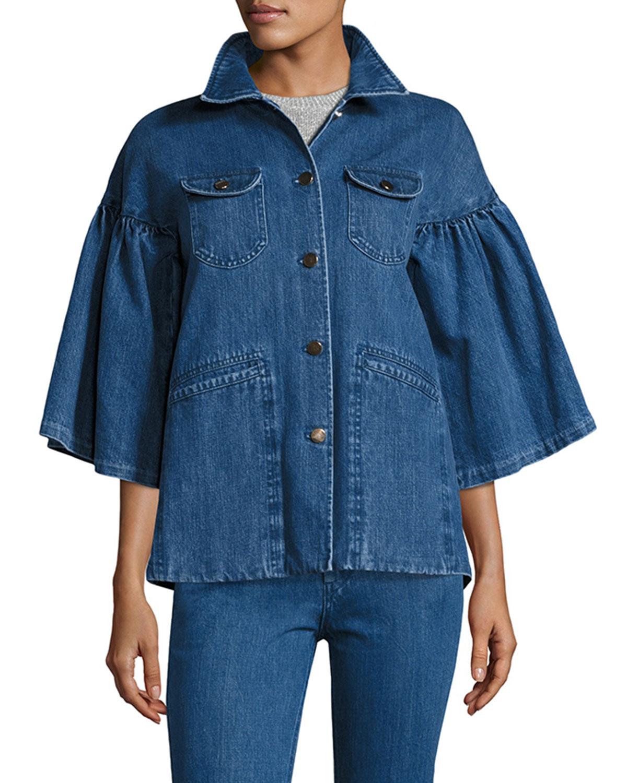 Flared-Sleeve Denim Jacket, Indigo
