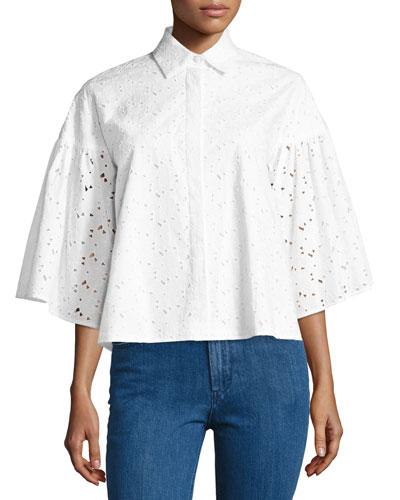 Eyelet Lace Flared-Sleeve Shirt, White