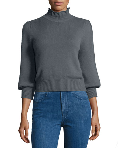 Peasant-Sleeve Ruffle-Neck Sweater