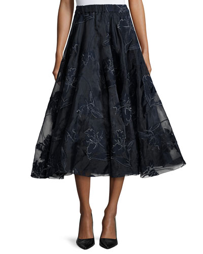 Embroidered Iris Organza Full Midi Skirt, Navy