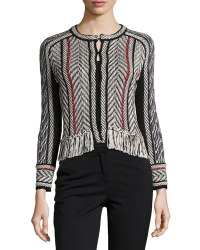 Collarless Tweed Jacket with Fringe Trim, Black/Red/White