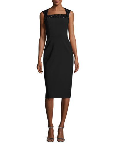 Beaded-Shoulder Cocktail Dress, Black