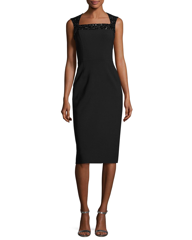 Beaded-Shoulder Cocktail Dress, Black