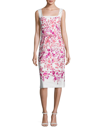 Sleeveless Floral Belted Sheath Dress, White/Pink