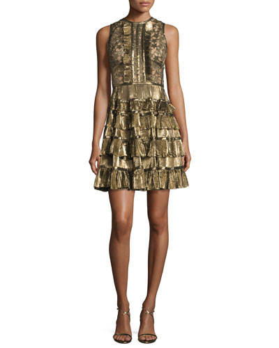 Sleeveless Metallic Star-Lace Ruffled Dress, Gold