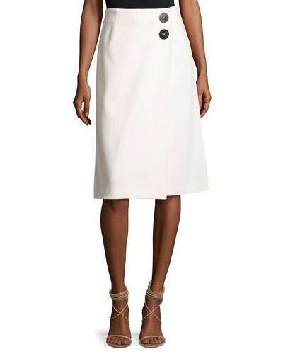 Faux-Wrap A-Line Skirt, Off White