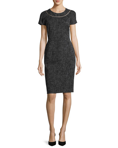 Optic-Weave Cap-Sleeve Sheath Dress, Black