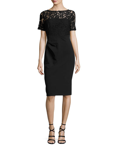Lace-Bodice Short-Sleeve Sheath Dress, Black