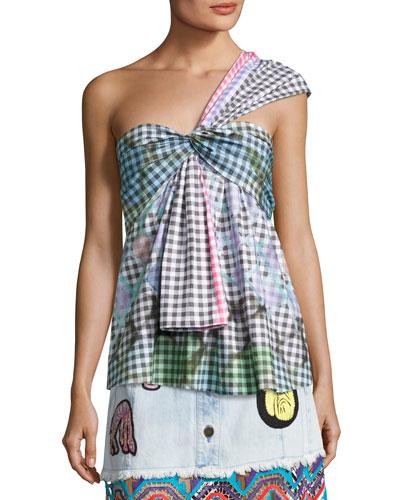 One-Shoulder Gingham Top, Multicolor