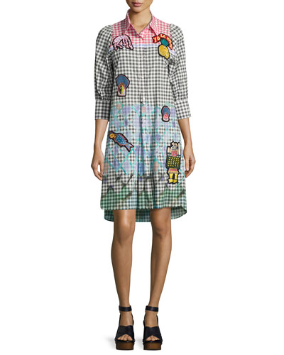 Patchwork Colorblock Gingham Shirtdress, Multi