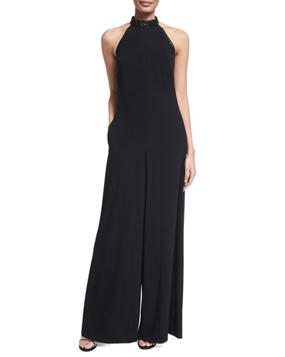 Crystal Halter Wide-Leg Jumpsuit, Black