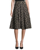 Floral Jacquard Box-Pleat Skirt, Black/Gold
