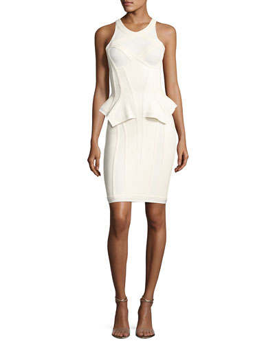 Marlena Sleeveless Peplum Bustier Dress, Alabaster Combo