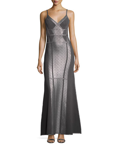 Metallic Foil Sleeveless Ribbon Bandage Gown, Gunmetal