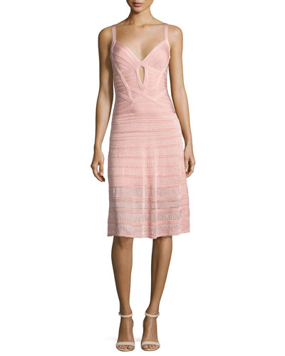 Sleeveless Keyhole Bandage Dress with Knit Skirt, Pink