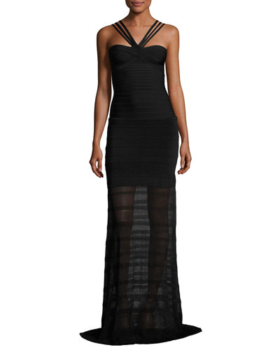 Sleeveless Bandage Gown with Knit Skirt, Black