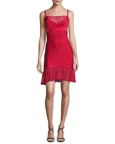 Lace-Inset Bandage Slip Dress, Red