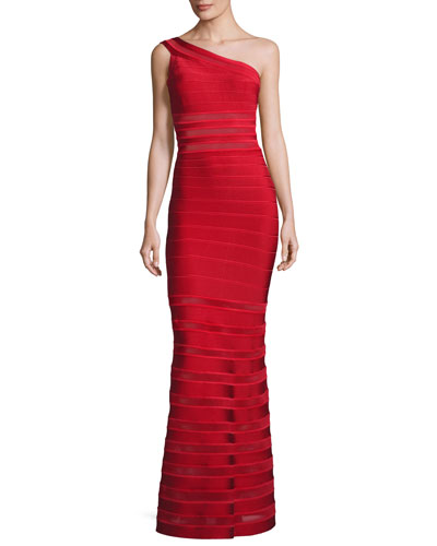 One-Shoulder Bandage Illusion Gown, Red